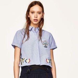 Zara Pinstripe Embroidered Blouse